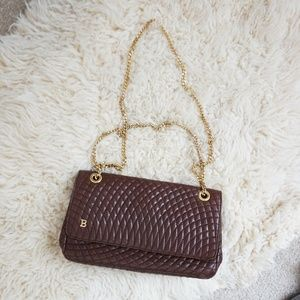 Vintage Bally brown quilted bag chain bag